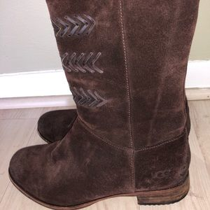UGG Brown Suede Zip-Up Boots Size 7 NEW